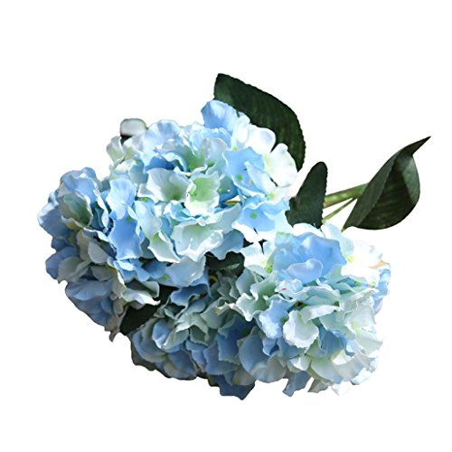 l Silk Fake Flowers Home Decoration Littleice Bridal Hydrangea Bouquet Wedding Decor (Sky blue J) (Blue Hydrangea Sticker)