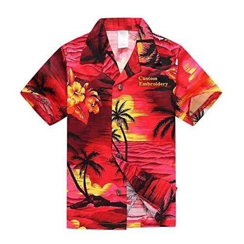 Boy Hawaiian Aloha Luau Custom Embroidery Shirt and Shorts 2 Piece Cabana Set in Red Sunset 6 Year Old