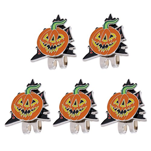 MonkeyJack 5 Pieces Sturdy Halloween Pumpkin Pattern Magnetic Hat Cap Visor Clip-on Golf Ball Marker Gifts -
