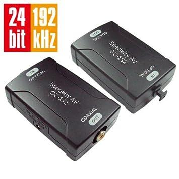 Digital óptico Toslink a Coaxial Coaxial S/PDIF convertidor de audio HD 24bit/192