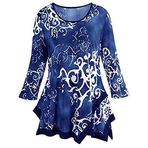 Mnyycxen Womens Long Sleeve Floral Print Irregular Hem Asymmetrical Loose Fit Tunic Tops