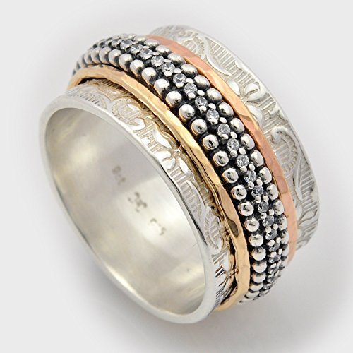 - CZ silver and gold double sided spinning ring sizes 6-10