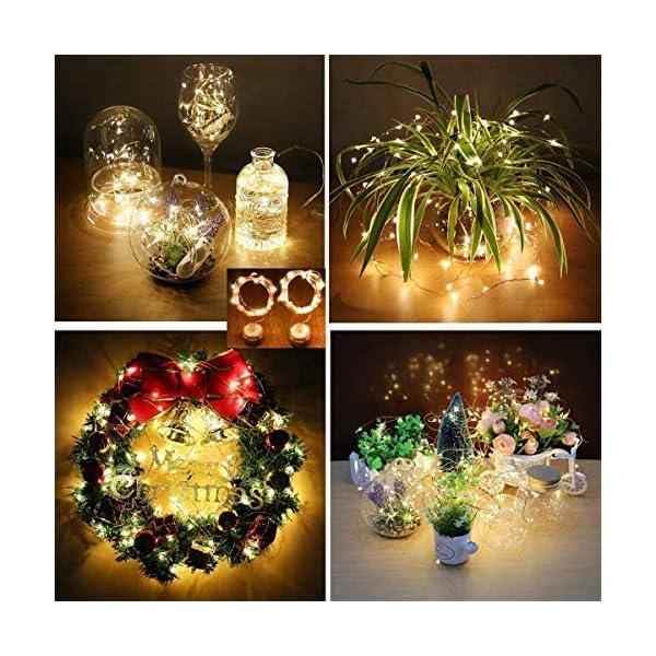 Stringa Luci LED, 2 x 10M Catena Luminosa Batteria Luci Natale 100 LEDs per Natalizie Decorazioni Interno ed Esterno Telecomando 8 Modalità Impermeabile(Giallo Caldo) 2 spesavip