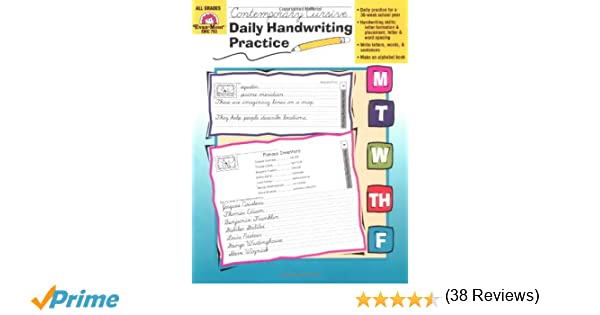 Workbook first grade worksheets pdf : Amazon.com: Daily Handwriting Practice, Contemporary Cursive ...