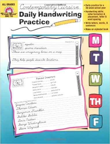 Workbook customizable handwriting worksheets : Amazon.com: Daily Handwriting Practice, Contemporary Cursive ...