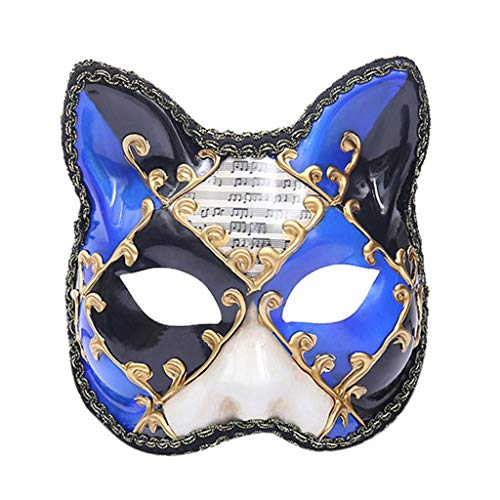 Colmkley Halloween Costume, Unisex Masquerade Mask Vintage Venetian Checkered Musical Party Cat Mask (Best Halloween Ringtones Scary Sounds Music)