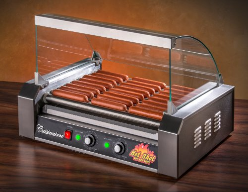 cuisinairre hot shot 9 roller hot shot commercial grade 9 roller 24 hot dog grill maker machine. Black Bedroom Furniture Sets. Home Design Ideas