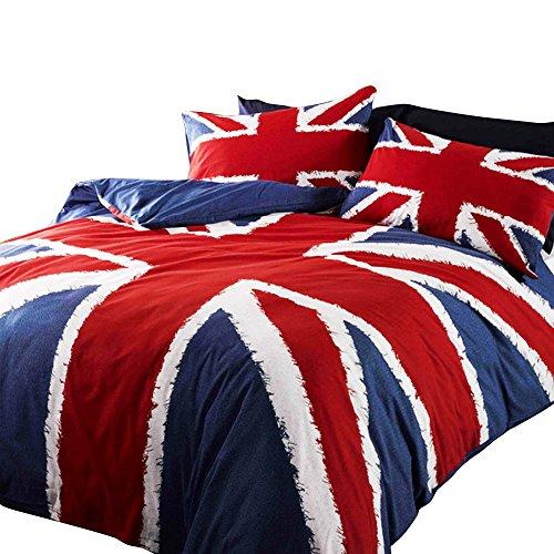 Union Jack Flag Design Navy Comforter Cover Bedding Set (One Size) (Red/Blue) ()