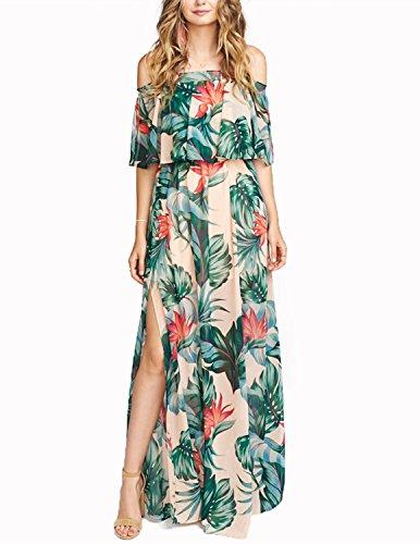 VERO VIVA Womens Tropical Print Strapless Maxi Dress Double Layered Side Split