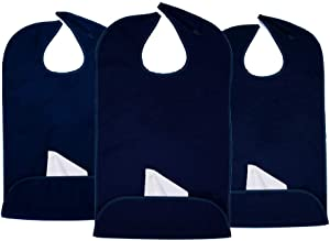 Classy Pal | Adult Bibs for Women and Men | Senior Citizens Clothing Protector for Eating, Crafting, Cooking | Adults Bib Reusable and Washable (Navy x 3pk)