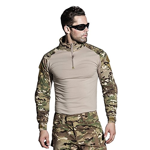 SINAIRSOFT Tactical Shirt with Elbow Pads Army Airsoft Combat BDU Shirt Multicamo (Shirt,US S=Asian Tag L)