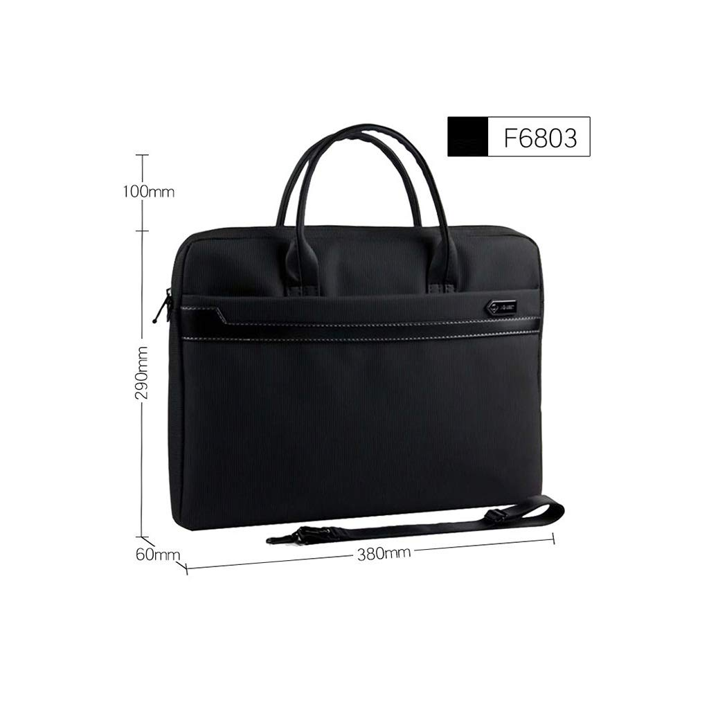 Hand-held Inclined File Bag, Canvas Waterproof Zipper File Information Bag 38×29×6cm (Color : Black, Size : 38×29×6cm) by QSJY File Cabinets