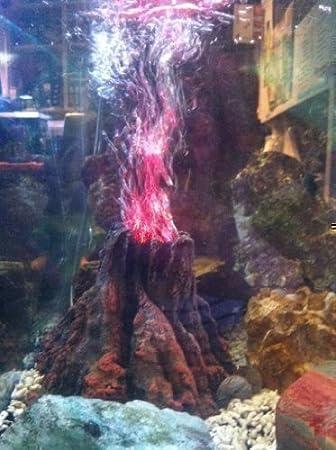 Adorno para acuario tanque para peces Volcán en erupción con luz roja LED *Incluida*: Amazon.es: Productos para mascotas