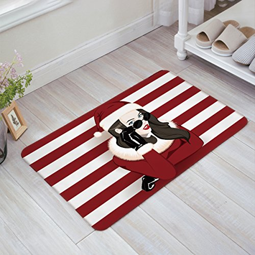 Libaoge Chic Lady Wearing Sunglasses and Christmas Costume with Red White Stripes Doormat Welcome Mat Entrance Mat Indoor/Outdoor Door Mats Floor Mat Bath - Inside Wearing Sunglasses