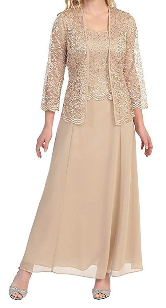 tutu.vivi Women\'s Lace Plus Size Mother of The Bride Dress with Jacket Tea  Length Champagne Size22W