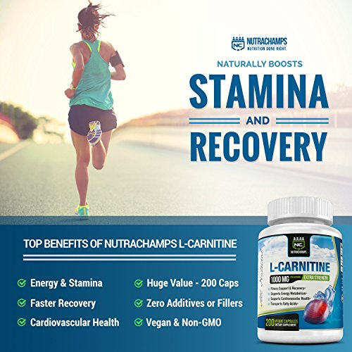 L Carnitine 1000mg 200 Vegan Capsules for Energy, Stamina, Recovery, Fat Metabolization, Heart Health, Weight Loss Best Value Vegetarian L Carnitine 500mg Pills by NutraChamps