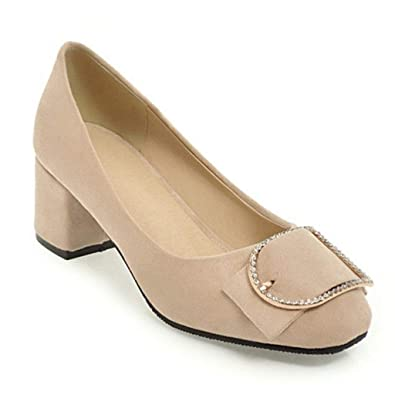 bdc1ab25d Amazon.com | JOYBI Women's Pumps Loafers Pointed Toe Block Heels Buckled Comfortable  Chunky Low Heel Dress Shoes | Pumps