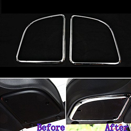 UltaPlay Interior Top Roof Sound Louder Speaker Cover Trim Chrome Decor Frame Car Styling Sticker For Jeep Wrangler 2015 2016 Accessories [Silver]