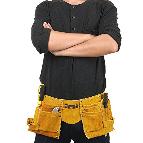 DLtools Professional Waist Work Apron Real Leather Tool Belt for Woodworking with 2 Roomy Tool Pockets, 2 Ring Buckles Belt and an Adjustable Nylon Belt with Quick Release Buckle-Yellow by DLtools