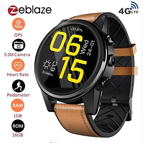 Zeblaze Thor 4 Pro- Android 7.1.1 MTK6739 1.25GHz Quad Core Smartwatch 1GB+16GB 5.0MP 600mAh WiFi GPS Camera 4G Data Call Watch for Men Support Android/iOS System (Brown)