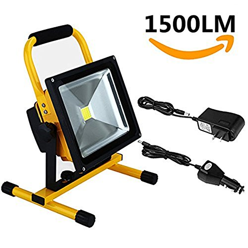 W-LITE 20W Portable Rechargeable Cordless LED Work Light Rechargeable Flood Light, outdoor light, Waterproof Emergency Light Trouble Light (Yellow body) 6000K, daylight(White) by W-LITE