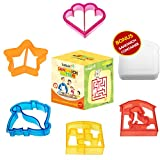 Sandwich Cutters for Kids -Set of 5 - Fun Bread Shapes plus BONUS Sandwich Holder Box for Lunches & School - Star, Puppy, Dinosaur, Hearts, Puzzle Shapes for Boys and Girls - Games on Sandwich Box