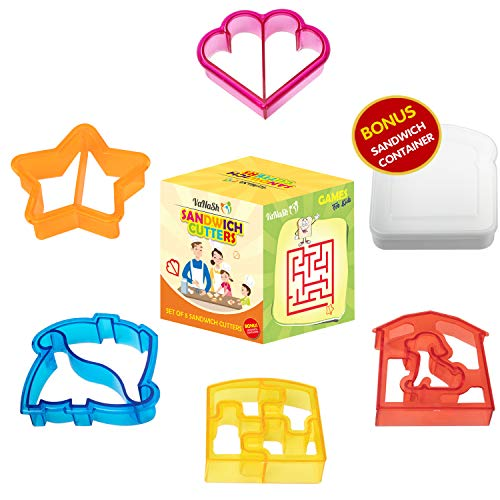 Sandwich Cutters for Kids -Set of 5 - Fun Bread Shapes plus BONUS Sandwich Holder Box for  Lunches & School - Star, Puppy, Dinosaur, Hearts, Puzzle Shapes for Boys and Girls - Games on  Sandwich Box -