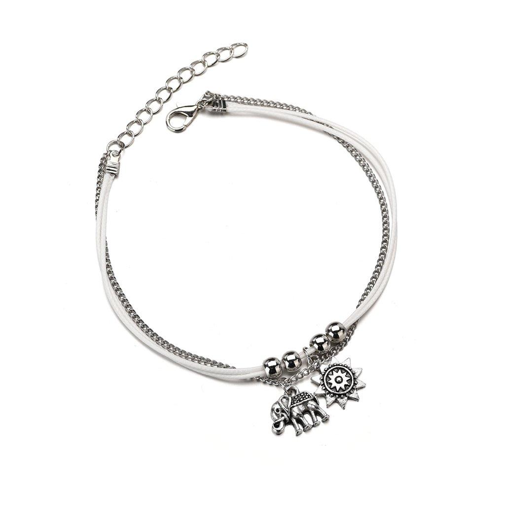 Doiber Elephant Anklet Bracelet Sunrise Vintage Boho Multi Layer Beach Barefoot Jewelry