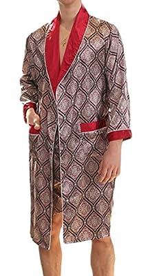Jaycargogo Men's Satin Robe Luxurious Silk Spa Long Sleeve House Kimono Bathrobe
