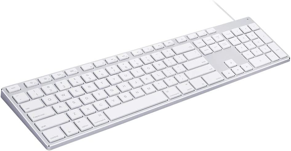 Aluminum USB Wired Keyboard with Numeric Keypad for Apple Mac Pro, Mini Mac, iMac, iMac Pro, MacBook Pro/Air