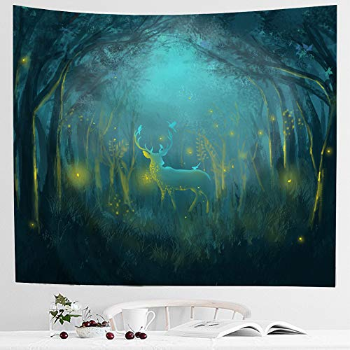 (IcosaMro Deer in Fairy Forest Tapestry Wall Hanging - [Hemmed Edges& 4Hooks] Psychedelic Fantasy Wall Art Blanket Home Decor for Bedroom Living Room College Dorm (51x60, Green))