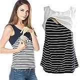 iLUGU Women Summer Striped Casual Breastfeeding Shirt Top Blouse Tank for Crop Vest Cami Scoop Neck Sleeveless White
