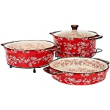 Temp-tations Floral Lace Cook & Look 3pc Round Baker Set (Red)