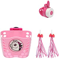 Little World Kid's Scooter Basket, Front Handlebar Scooter Accessories with 1 Pair Streamers and Bike Bell for Girls and…
