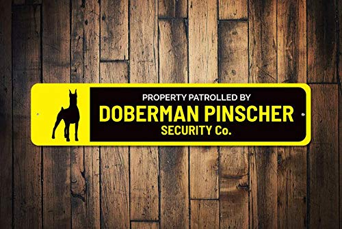 T56imh Dog Security Co. Sign, Guard Dog Gift, Guard Dog Sign, Doberman Pinscher Sign, Dog Security Sign, Mean Dog Sign, Quality Aluminum Dog Signs ()
