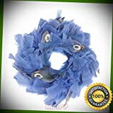 KARPP 10'' Peacock Embellished Blue Feather Artificial Christmas Wreath - Front Door Premium Ornament - Christmass Decor