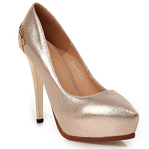 MINIVOG Platform Womens High Heel Fashion Pump Shoes Gold 5pjF6cv
