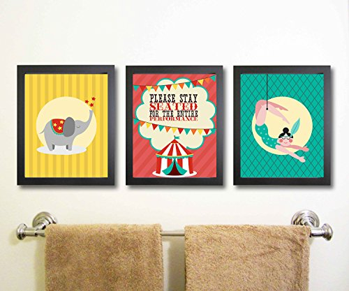 Silly Goose Gifts Fun Circus Bathroom Wall Art Decor (Set of Three) Please Stay Seated for The Entire Performance