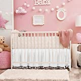 White Crib Bed Skirt Dust Ruffle with Tassel Trim Nursery Crib Bedding Skirt for Baby Boys and Girls,14'Drop