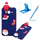 TPU Case for Samsung Galaxy J3 2016 J320,Soft Rubber Cover for Samsung Galaxy J3 2016 J320,Herzzer Ultra Slim Stylish 3D Christmas Santa Claus Series Design Scratch Resistant Shock Absorbing Flexible Silicone Back Case - Dark Blue