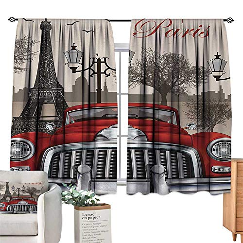 - Retro Insulated Sunshade Curtain European Parisian City Scenery with Old Auto Mousque and Eiffel Silhouette Art Darkening and Thermal Insulating 72