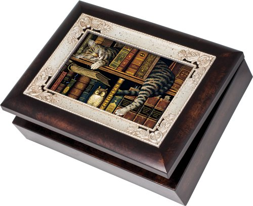 Italian Inlay Jewelry Box (Cottage Garden Cat Resting On Bookshelf Burlwood With Silver Inlay Italian Style Music Box / Jewelry Box Plays Wonderful World)