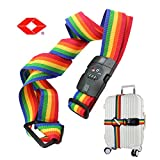 Adjustable Travel Luggage Long Cross Strap with TSA Approved Combination Lock - Heavy Duty Non-Slip Packing Security Belt for Baggage Suitcase 18''~34''