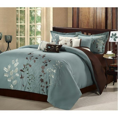 Chic Home Vines 8-Piece Comforter Bedding Set, Sage, Queen ()