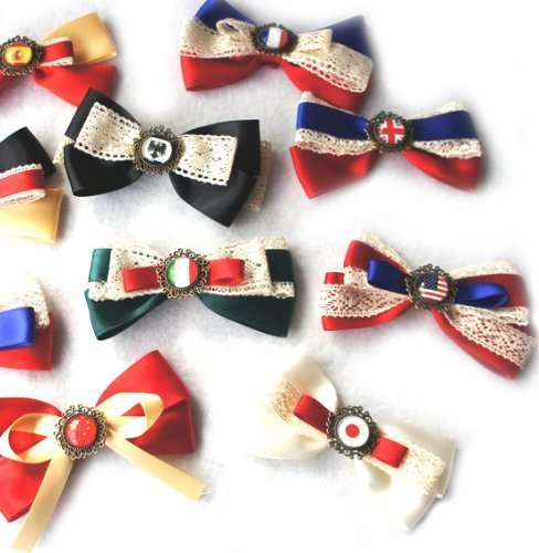 a Axis Powers Lace Ribbon National Flag Hairpin Hairwear Barrete Brooch Pin hand-Made 6PCS Random Sent (Power Lace)