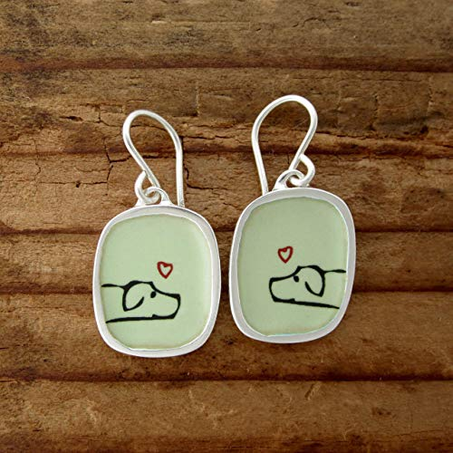 Dog Earrings made with Enamel and 925 Sterling Silver for Women