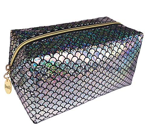 Bewaltz Mermaid Makeup Brushes bag Cosmetic Bag Makeup Bag Toiletry Travel Bag Handy Large Protable Wash Pouch Waterproof Zipper Handbag, Waterproof, Silver