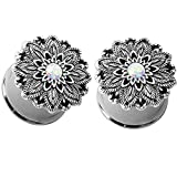 0 gauge plugs lotus - Pair of Synthetic Opal Lotus Flower Double Flared Ear Plugs Tunnels Steel/Brass Gauges (0G (8mm))