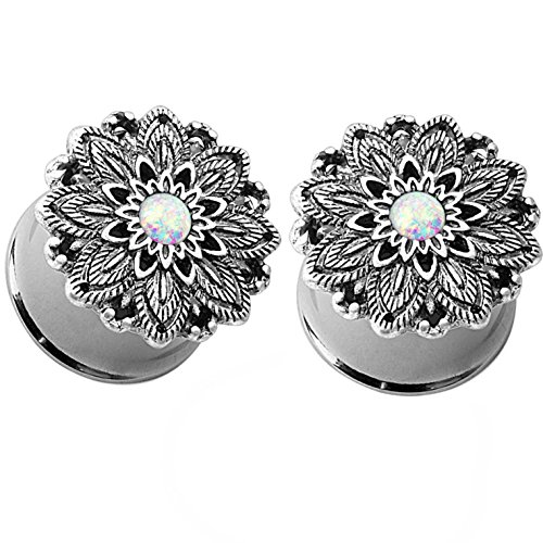 Pair of Synthetic Opal Lotus Flower Double Flared Ear Plugs Tunnels Steel/Brass Gauges (4G (5mm)) (Plug Design Ear)
