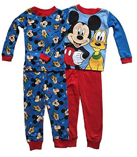 Disney Little Boys Toddler Mickey Mouse & Pluto 4 Pc Cotton Pajama Set (3T)